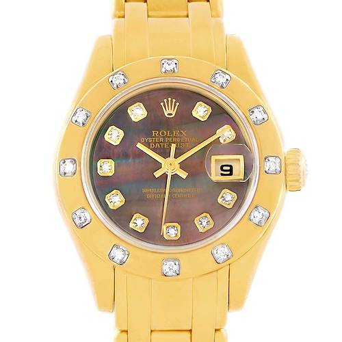 Photo of Rolex Pearlmaster Yellow Gold Black MOP Diamond Ladies Watch 80318