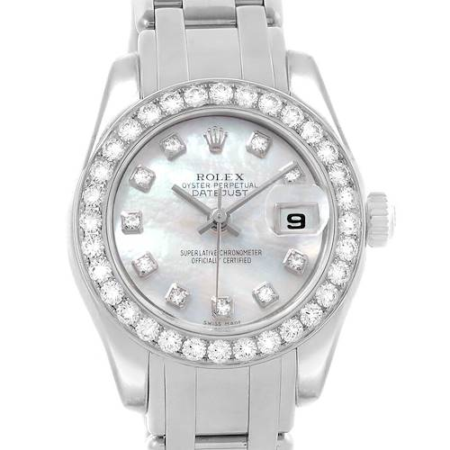 Photo of Rolex Pearlmaster Masterpiece White Gold MOP Diamond Ladies Watch 80299