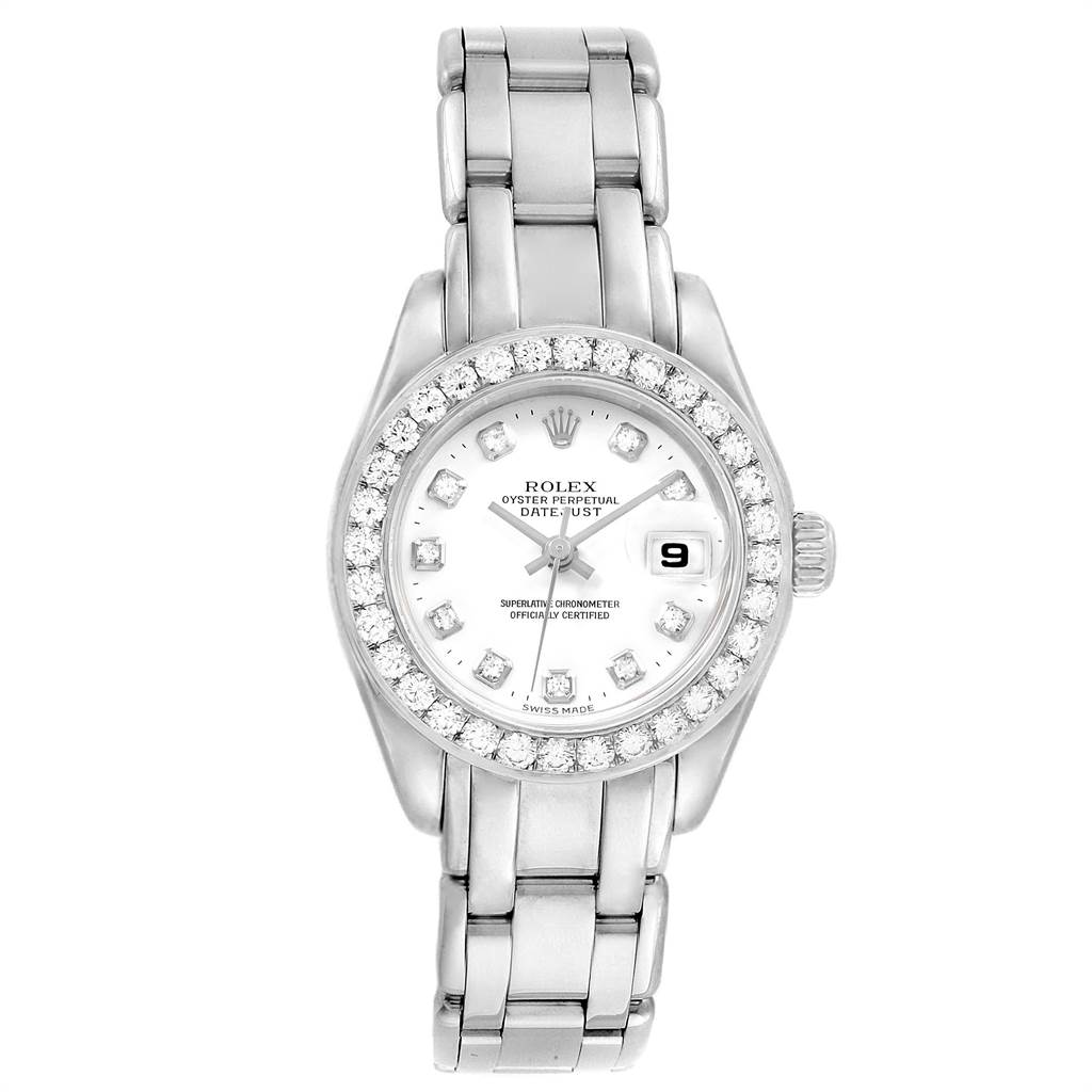 Rolex Pearlmaster Masterpiece 18K White Gold Diamond Ladies Watch 80299