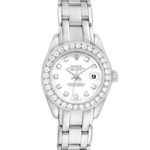 Photo of Rolex Pearlmaster Masterpiece 18K White Gold Diamond Ladies Watch 80299