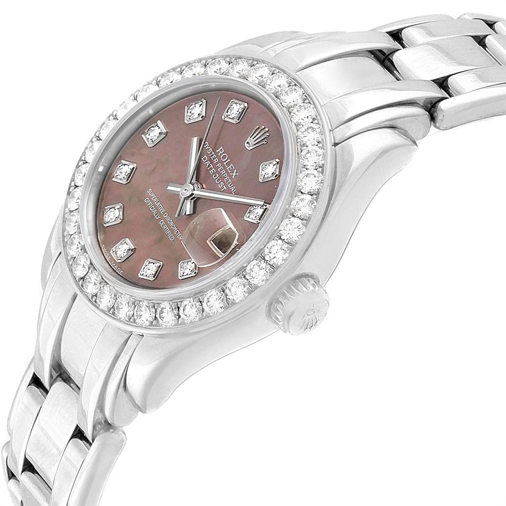 18026A Rolex Pearlmaster Masterpiece White Gold MOP Diamond Ladies Watch 80299 SwissWatchExpo