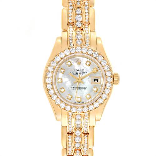 Photo of Rolex Pearlmaster Yellow Gold Triple Row Diamond Bracelet Ladies Watch 69298