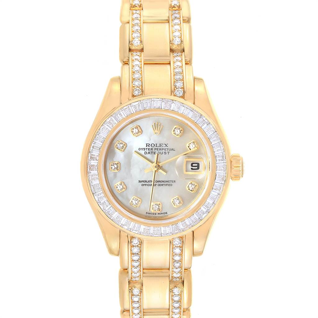Rolex Pearlmaster Yellow Gold Two Row Diamonds Bracelet Ladies Watch 80308