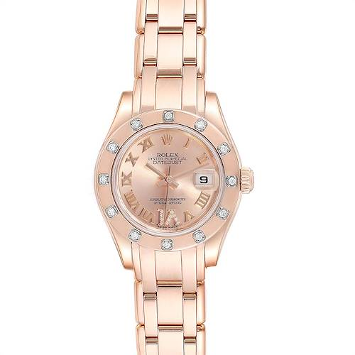 Photo of Rolex Pearlmaster Rose Gold Diamond Ladies Watch 80315 Box Card