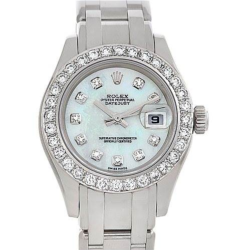 2628A Rolex Masterpiece Pearlmaster 18k White Gold Diamond Watch 80319 SwissWatchExpo