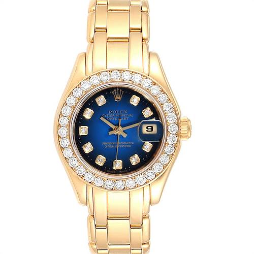 Photo of Rolex Pearlmaster Yellow Gold Vignette Diamond Dial Ladies Watch 69298