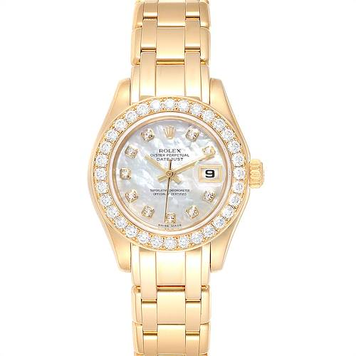 Photo of Rolex Pearlmaster Yellow Gold Mother of Pearl Diamond Watch 80298