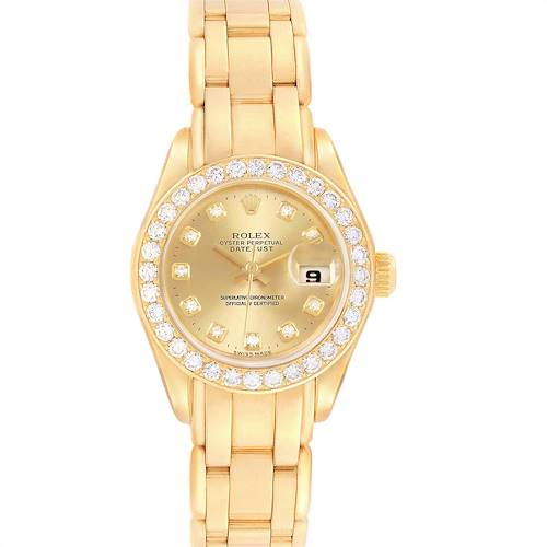 Photo of Rolex Pearlmaster Yellow Gold Diamond Ladies Watch 69298