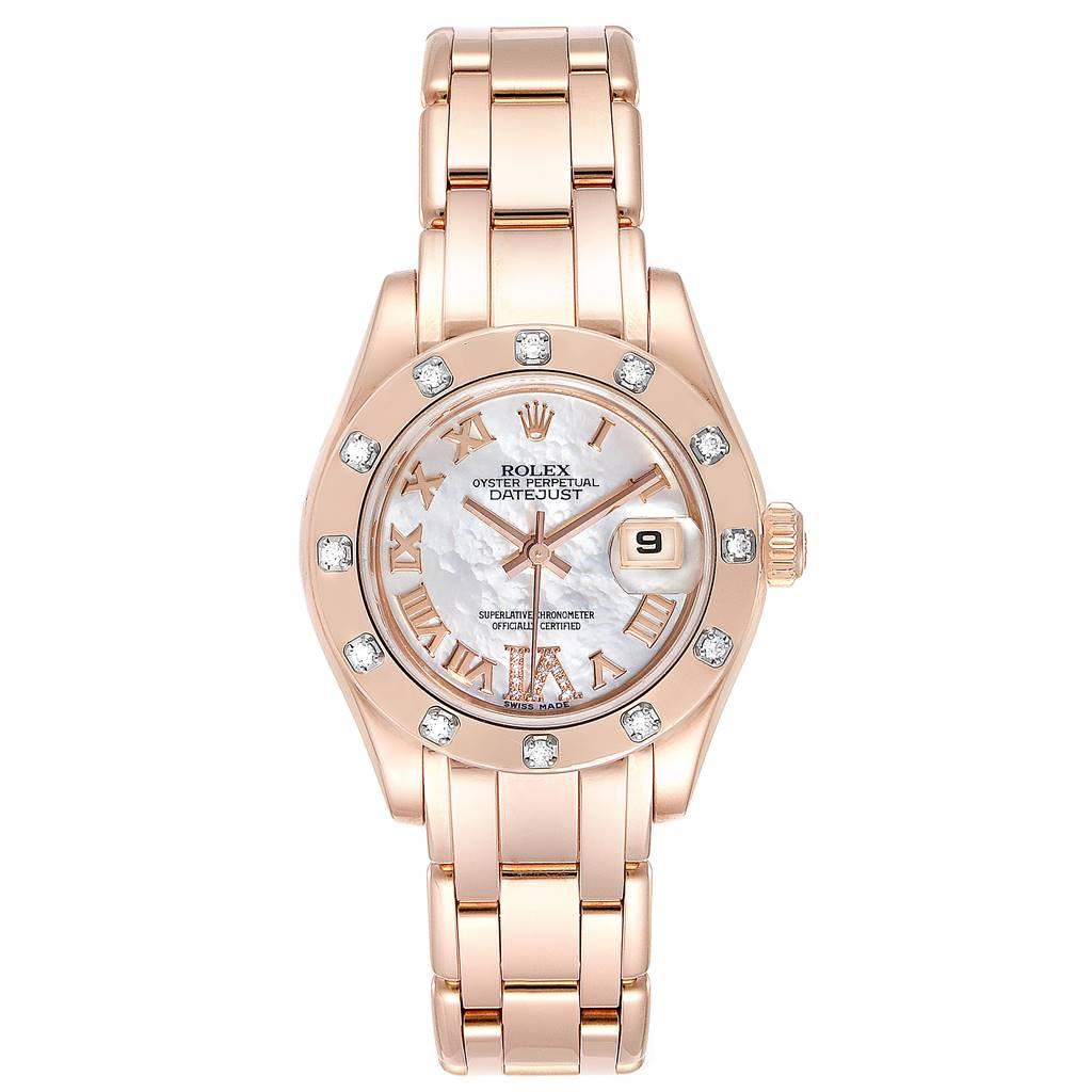 25218 Rolex Pearlmaster Rose Gold MOP Diamond Ladies Watch 80315 Box  SwissWatchExpo