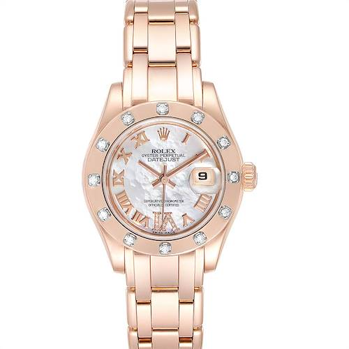 Photo of Rolex Pearlmaster Rose Gold MOP Diamond Ladies Watch 80315 Box