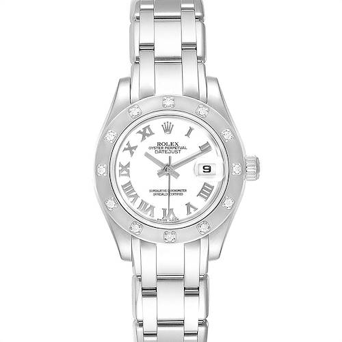 Photo of Rolex Masterpiece Pearlmaster White Gold Roman Dial Diamond Watch 80319