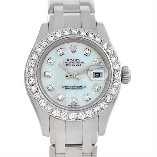 Photo of Rolex Masterpiece Pearlmaster 18k White Gold Diamond Watch 80319