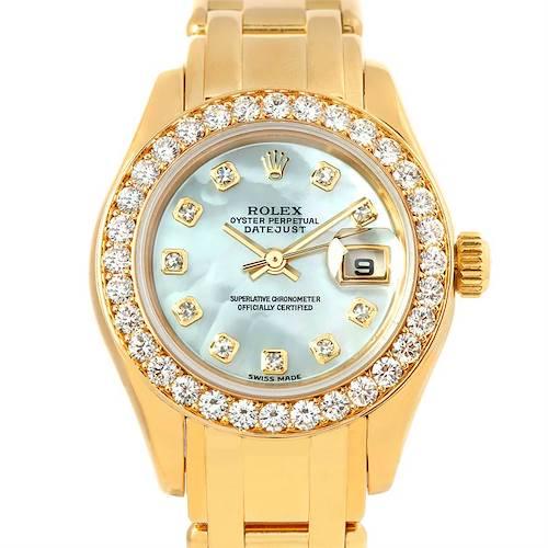 Photo of Rolex Pearlmaster 18k Yellow Gold Diamond Ladies Watch 80298