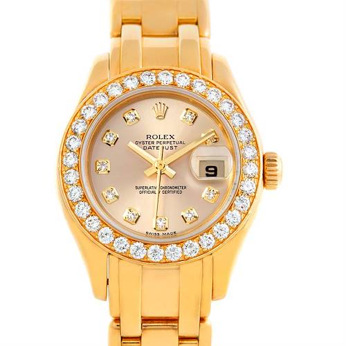 Photo of Rolex Pearlmaster 18k Yellow Gold Diamond Ladies Watch 802998