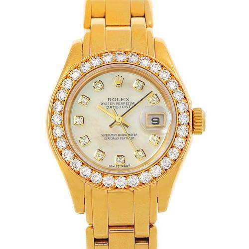 Photo of Rolex Pearlmaster 18k Yellow Gold Diamond Ladies Watch 69298